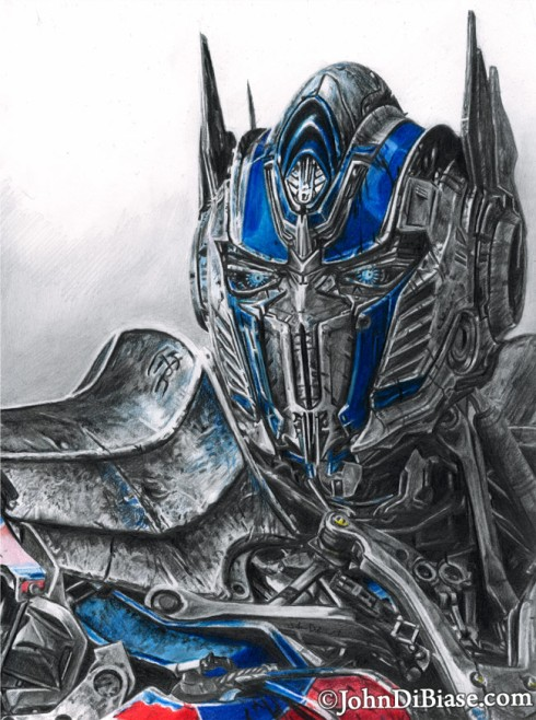 Prismacolor graphite pencil drawing of optimus prime from transformers age of extinction - Dessin optimus prime ...