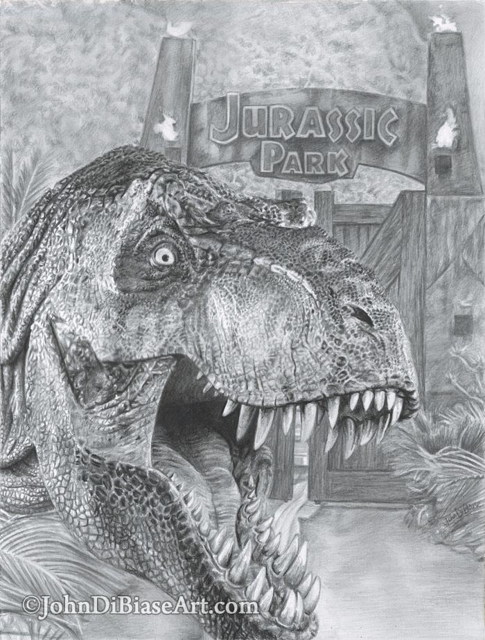 Freehand Drawing Of T Rex In Jurassic Park Johndibiase Com
