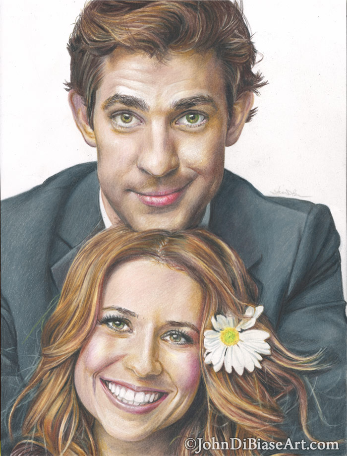 freehand colored pencil drawing of jim and pam from tv s the office