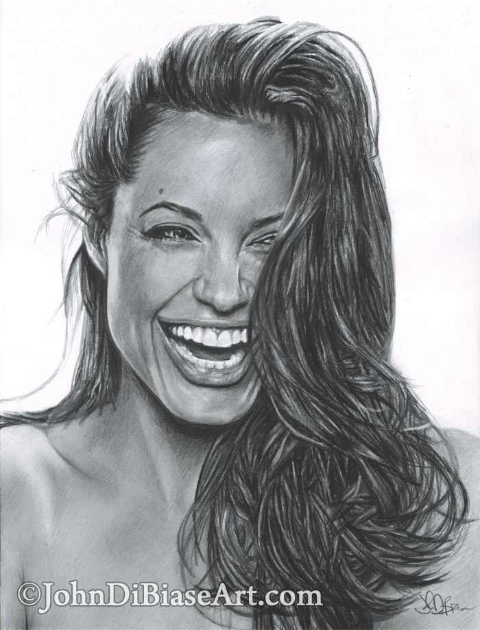 pencil drawing of angelina jolie � johndibiasecom