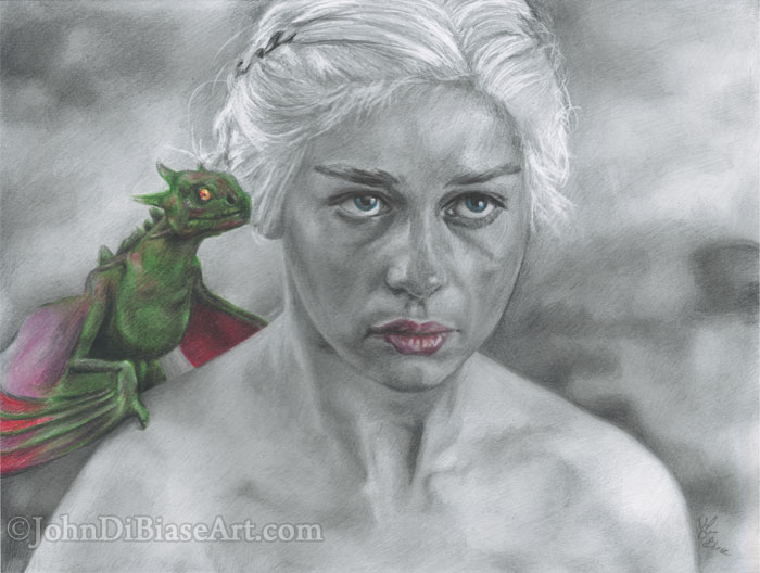 Graphite and colored pencil drawing of emilia clarke as daenerys targaryen in game of thrones