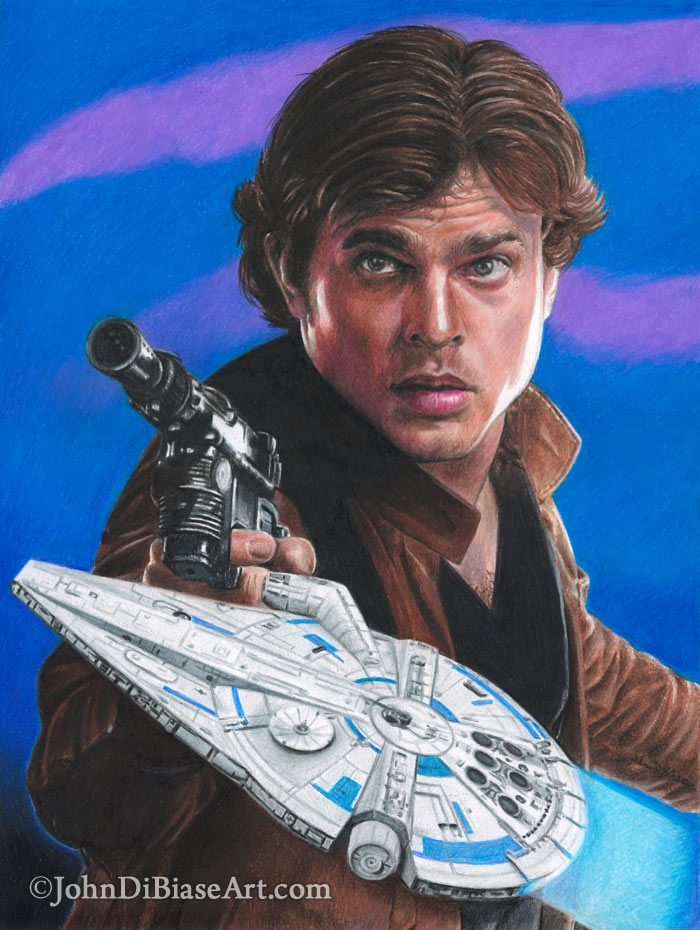 Colored Pencil Drawing of Han Solo from Solo: A Star Wars
